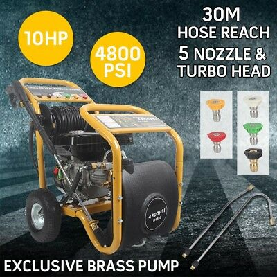 Jet 4800 PSI High Pressure Cleaner Washer 10 HP Water Petrol Gurney 30M Hose