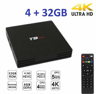 PDR*Smart TV BOX T9 PRO Android 7.1.2 4GB RAM 32GB 4K IPTV GPU 5 CORE QUAD WIFI