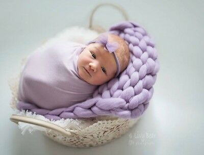 Chunky Lavender Merino Baby Blanket Newborn Photography Prop Basket Filler UK