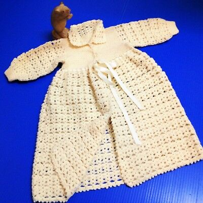 Late 60s Vintage - Crocheted Buttery Cream Matinee Jacket - New Born Baby, Doll