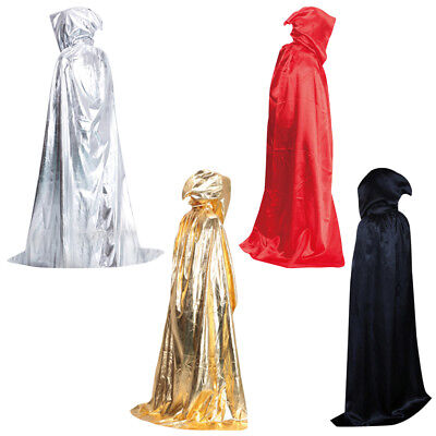 Halloween Witchcraft Cape Gothic Hooded Velvet Cloak Wicca Robe Fancy Dress US