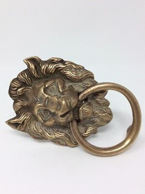 Antique Solid Brass Lion Head Door Knocker H10 L18 W10cms