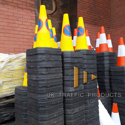 "Pack of 6 - Yellow ""No Waiting"" Traffic Cones (50cm)"