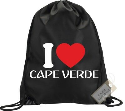 I Love Cabo Verde Mochila Bolsa Gimnasio Saco Backpack Bag Gym Cape Verde Sport