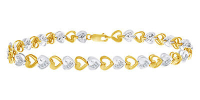 Two Tone Heart 925 Sterling Silver 0.25 CT Round White Natural Diamond Bracelet