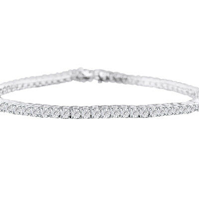 925 Sterling Silver 0.25 CT Round White Natural Diamond Women's Tennis Bracelet