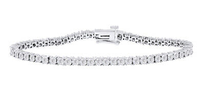 925 Sterling Silver 0.25 CT Round Natural Diamond Two Tone Tennis Bracelet