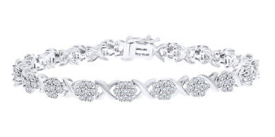 925 Sterling Silver 0.25 CT Round Cut White Natural Diamond XO Cluster Bracelet