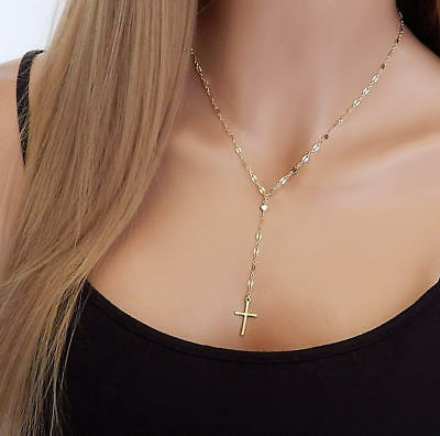 Women Fashion Jewelry Individuality Vintage Cross Pendant Collarbone Necklace