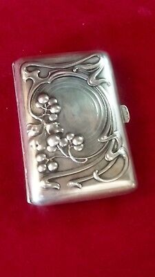 OLD ANTIQUE Art Nouveau /Art Deco solid silver  cigarette case