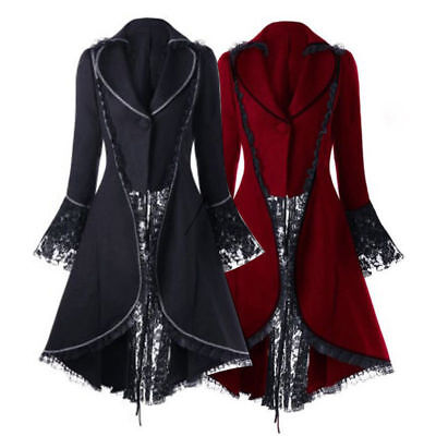 Gothic Steampunk Coat Lace Trim Victorian Jacket Vampire Halloween Costume