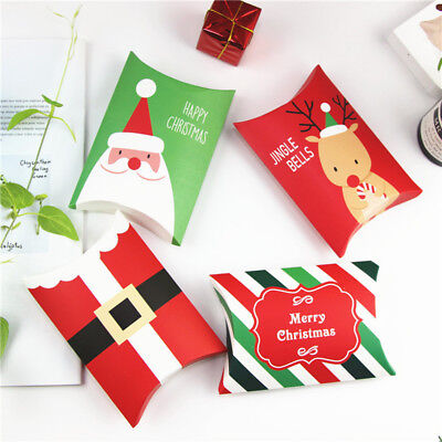 Christmas Paper Pillow Boxes Candy Sweets Cookies Biscuits Party Favour Gift Bag