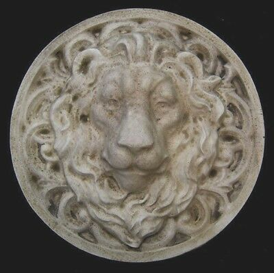 Large Roman Facing Lion wall sculpture relief plaque in Antique Stone Finish