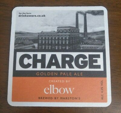 Elbow Charge Marstons Brewery Pale Ale x2 Beer Mat/coaster Guy Garvey
