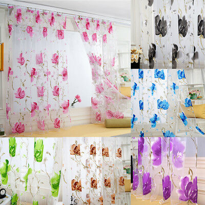 1 Panel Floral Room Door Sheer Voile Window Valances Drape Curtain Tulle Scarfs