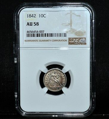 1842-P Seated Liberty Dime ✪ Ngc Au-58 ✪ 10C Almost Uncirculated Silver◢Trusted◣