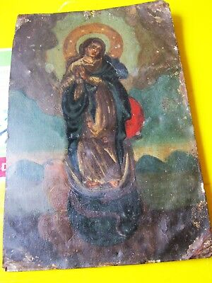 Original Antique Retablo On Tin With Image Of The Imaculate Conception