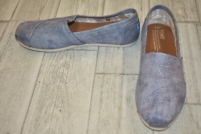 TOMS Classic Washed Twill Slip On Shoes, Women's Size 7, Slate Blue