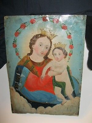 Original Antique Retablo On Tin With Image Of Our Lady Of Refuge Great Condition