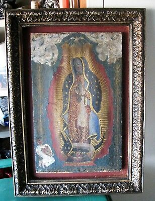 Original Antique Oil Painting On Canvas Over Wood , Our Lady Of Guadalupe Framed