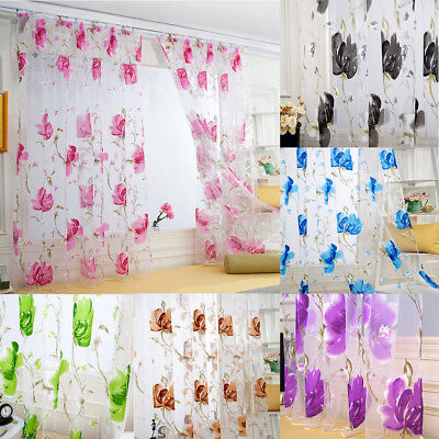 1 Panel Floral Room Door Sheer Voile Window Valances Drape Curtain Tulle Scarf