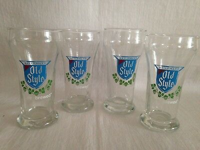 "Vintage 4 Heileman's ""Old Style"" Tapper Beer Glasses Shamrocks Blue/Green"