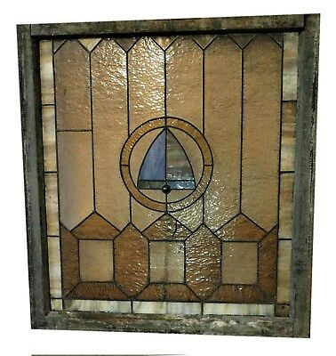 """ANTIQUE leaded STAINED GLASS WINDOW Frame 40"""" x 38"""""""