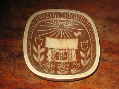 Arabia Studio Art Pottery Dish Bowl Incised Folky Design