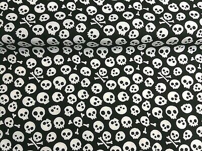 Polycotton Fabric NEW Craft BLACK MINI SKULL PIRATE Metre Material Special Offer