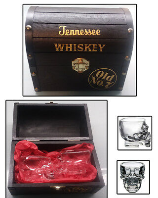 Jack Daniels Tennessee Whiskey case & skull shot glass set old no 7 man cave