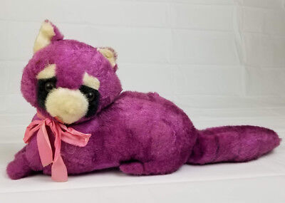 Vintage Purple Raccoon Stuffed Animal Carnival Prize Plush Toy