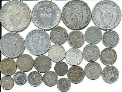 26 Old Silver Coins From The Philippines 1903-1929