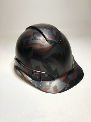 CUSTOM HARD HAT Cap American Flag Metalic Graphite Satin W/ Free BRB T-Shirt