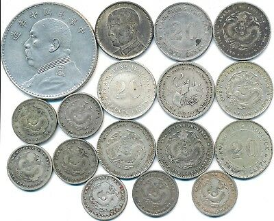 17 Old Silver Coins From China