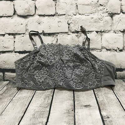 6a9e8752f7 OLGA 35263 40C PRETTY LACE CAMI-BRA Underwire Discontinued High Neck Gray