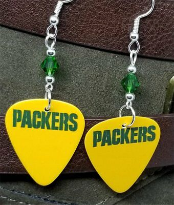 89b26566b NFL Green Bay Packers Guitar Pick Earrings with Green Swarovski Crystals