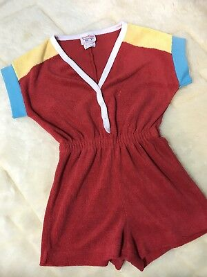 Vintage Terry Cloth Romper Tag A Longs Girls Size 5 Color Block