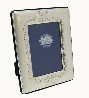 ITALIAN SILVER LAMINATE ELEGANT FLORAL FLOWER SHINY 5 X 7 PICTURE FRAME 20137 Sterling Silver (.925)