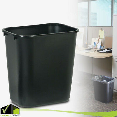 PLASTIC TRASH WASTE CAN Garbage Home Office Recycle Bin 7 Gal Rubbermaid Black
