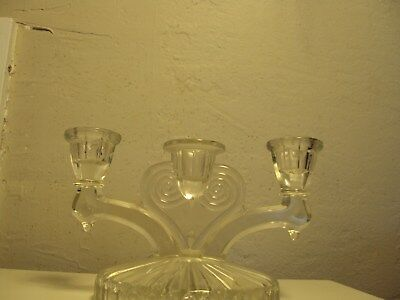 Art Deco Ornate Clear Glass Antique Candleholder.  Fostoria?