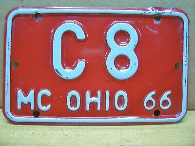 Vintage 1966 Ohio Motorcycle Scooter License Plate