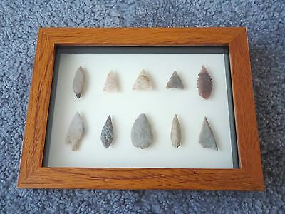 Neolithic Arrowheads in 3D Picture Frame, Authentic Artifacts 4000BC (0154)
