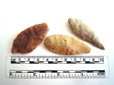Neolithic Spearheads x 3 - Saharan Flint Artifacts - 4000BC  (2173)
