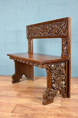 Carved Oak Bench, Settle, Hall Seat (100573)