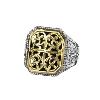 Gerochristo 2330N ~ Solid Gold & Silver Medieval Byzantine Chevalier Ring