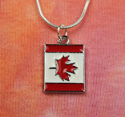 Canadian Flag Necklace, pick 16-36 silver chain Canada Enamel Charm Pendant gift