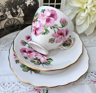 ROYAL VALE 1950s TRIO SET CUP SAUCER PLATE PINK PANSY PANSIES GILDED BONE CHINA