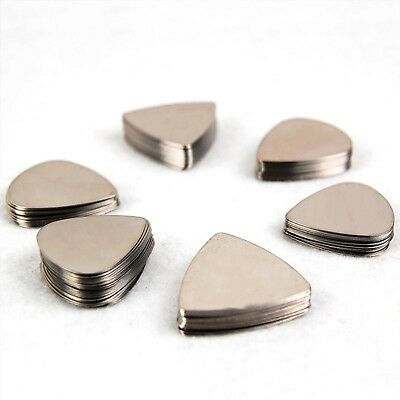 Guitar Picks 100Pcs Silver Stainless Steel Metal Electric Bass Plectrums Music