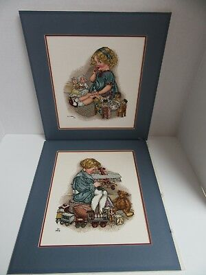 2 Finished Cross Stitch Tea Party Girl & Boy with Toy Plane Completed 13x15