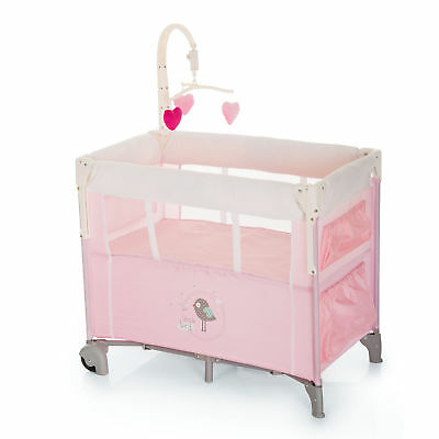 New Hauck Dream n Care Center Travel cot Bassinette+Toybar+Musical Mobile Pink